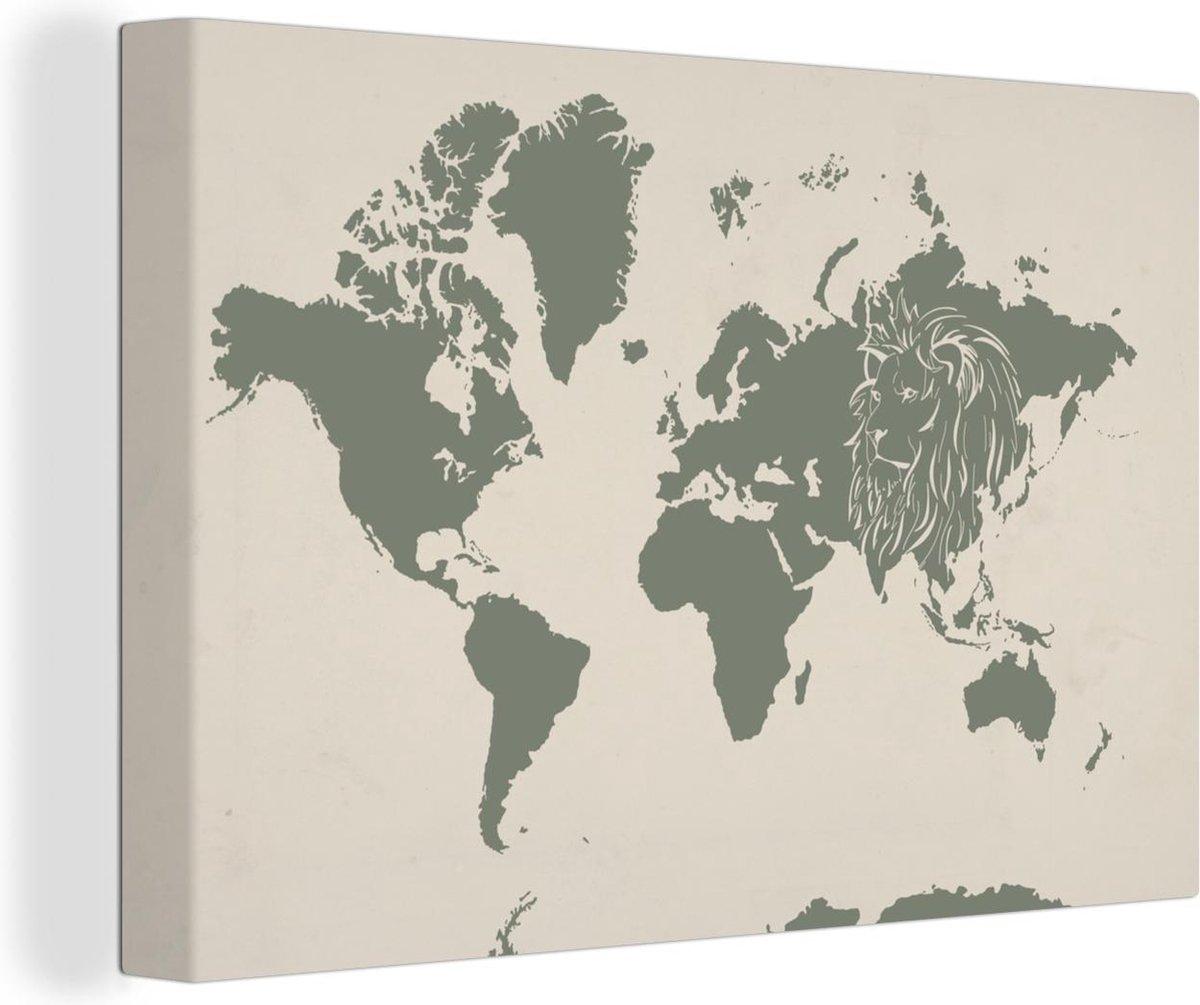 Canvas Schilderijen - Wereldkaart - Dieren - Leeuw - 180x120 cm - Wanddecoratie XXL