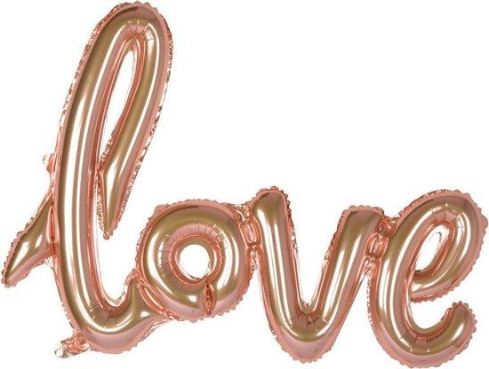Folie script ballon Love, Rose Gold, 101 cm, verpakt