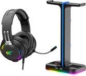 headset stand - ZINAPS RGB Gaming Headset en Headset Stand [2-in-1] Set, Desktop Headphone Stand met 2 USB-poorten, Gaming Headset met surround sound 50 mm driver en noise-cancelling microfoon