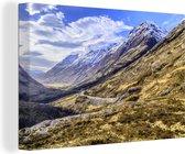 Ben Nevis in de winter met mooie wolken Canvas 30x20 cm - klein - Foto print op Canvas schilderij (Wanddecoratie woonkamer / slaapkamer)