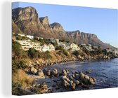 Twaalf Apostelen gebergte in Kaapstad Canvas 30x20 cm - klein - Foto print op Canvas schilderij (Wanddecoratie woonkamer / slaapkamer)