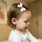 Haarspeldje met strik medium rainbow | Wit, Roze, Groen | Baby