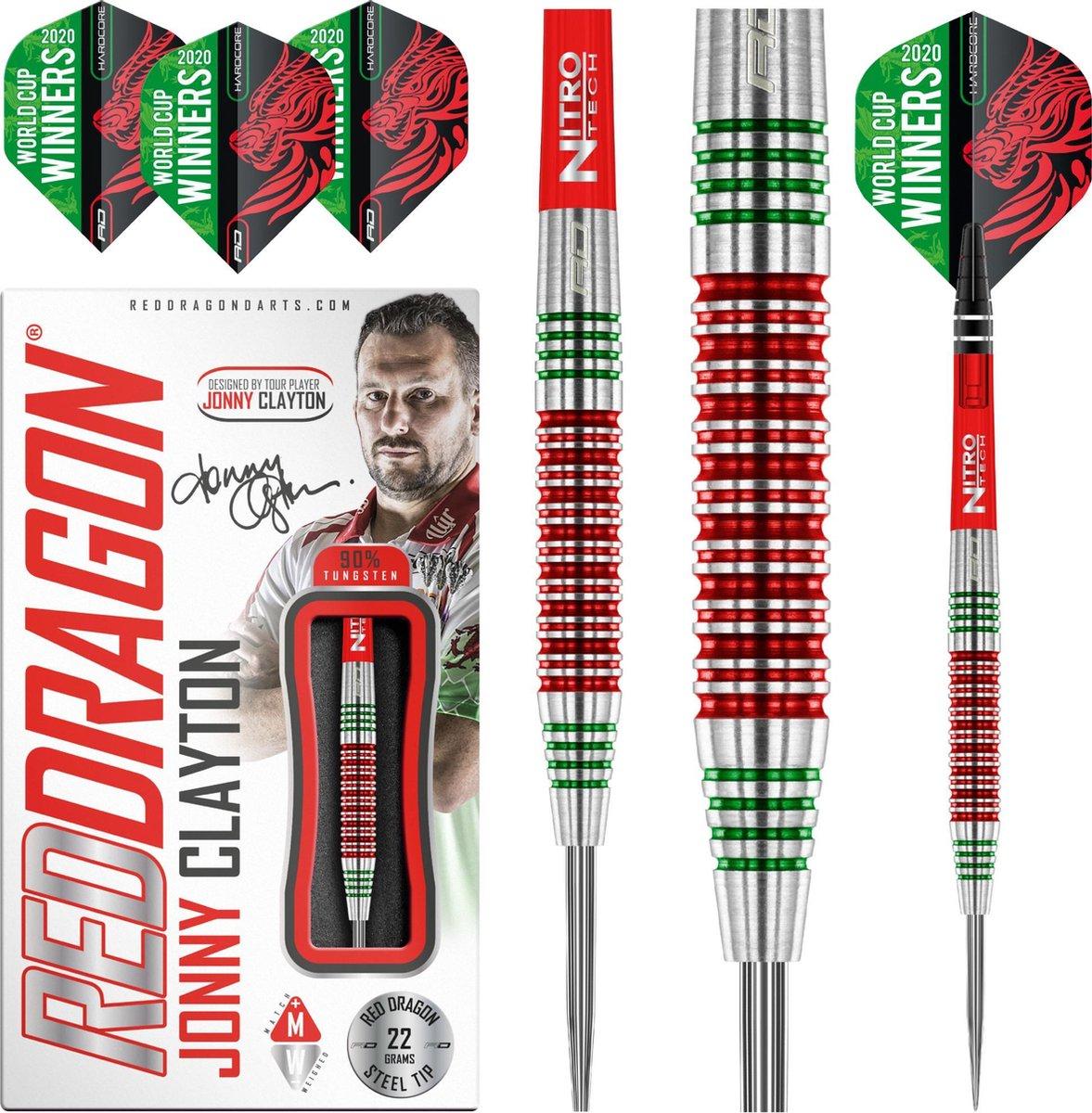 RED DRAGON - Jonny Clayton World Cup Edition: Steeltip Tungsten Dartpijlen Professioneel - 22 gram