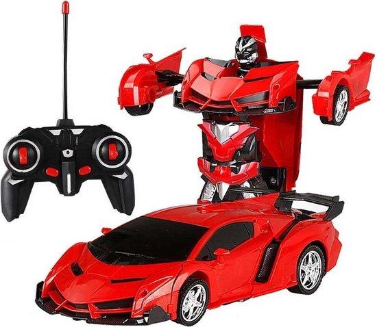 Huntex RC transformerende auto/robot - 2 in 1 - Afstand Bestuurbare Auto - Gratis Batterijen - Rood - Lamborghini - Neonlicht - Radiografische - Speelgoed Auto