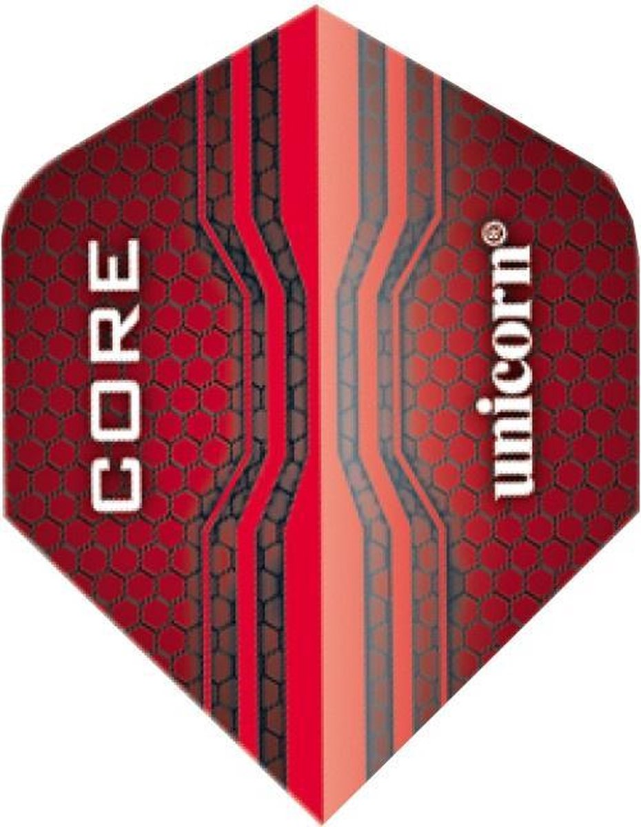 Unicorn Core Plus 75 Micron Flights Red Rood 3 Stuks