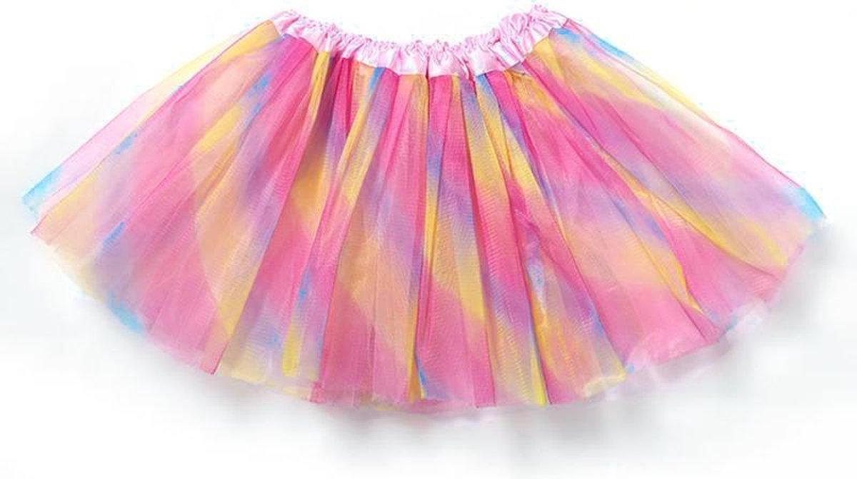 Regenboog tutu rokje lichtroze - maat 98 104 110 116 - eenhoorn unicorn ballet turnen gekleurde tule rok petticoat