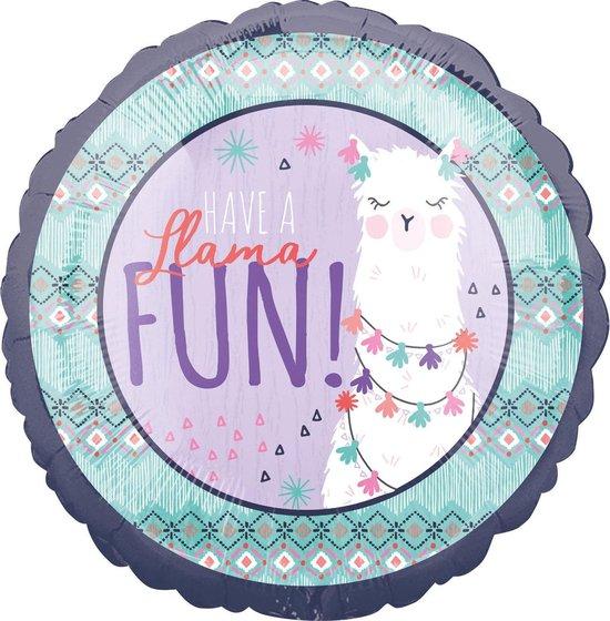 Amscan Folieballon Llama Fun Junior 45 Cm Paars/blauw