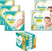 Startpakket met Pampers Premium Protection Luiers Maat 1 (69 luiers) + Maat 2 (136 luiers) en 12 x 52 Sensitive Billendoekjes