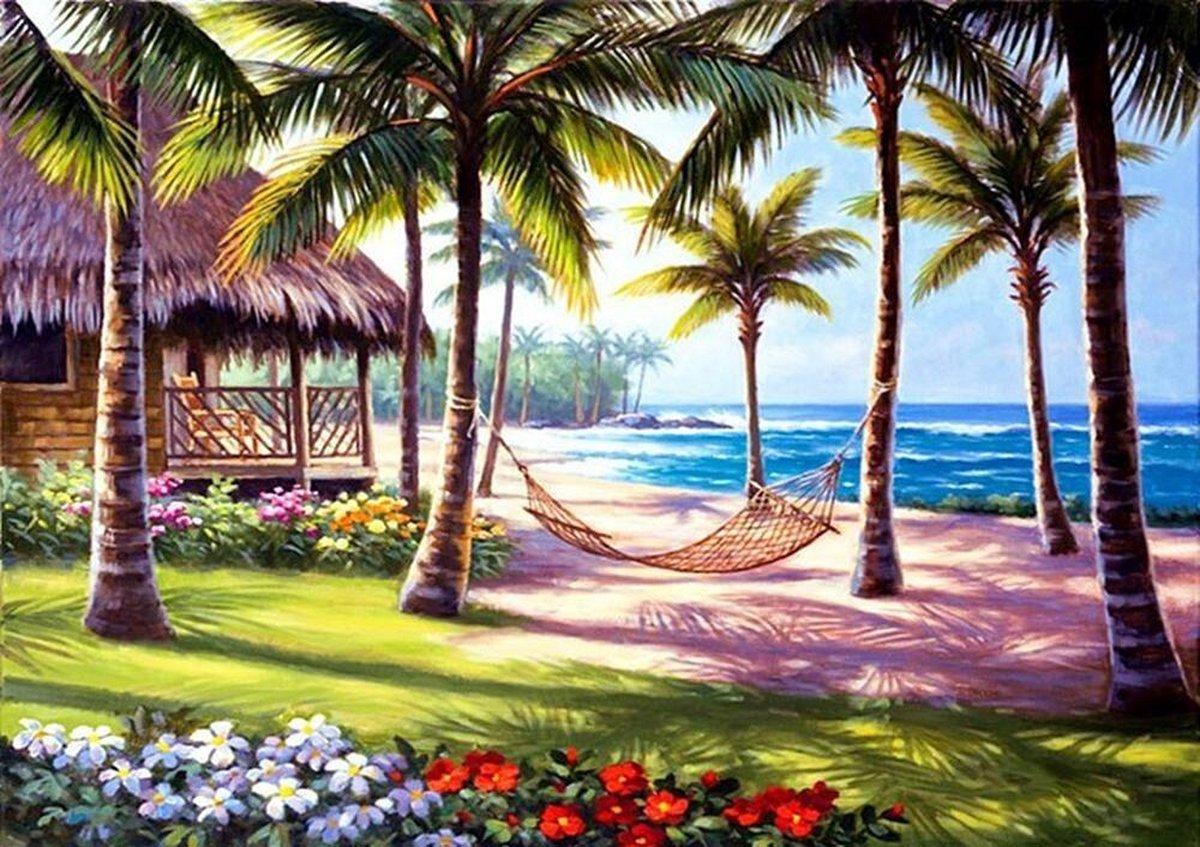 Premium Paintings - Het Paradijs - Diamond Painting Volwassenen - Landschap - Pakket Volledig / Pakket Full - 30x40 cm - Moederdag cadeautje