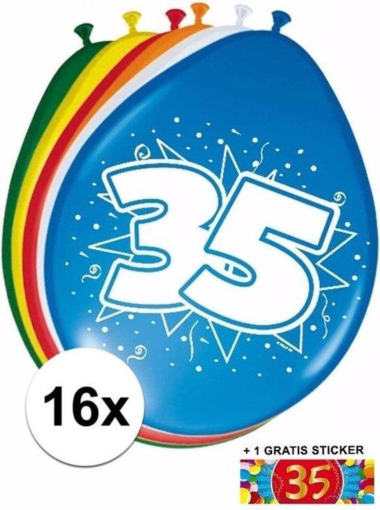 Ballonnen 35 jaar van 30 cm 16 stuks + gratis sticker