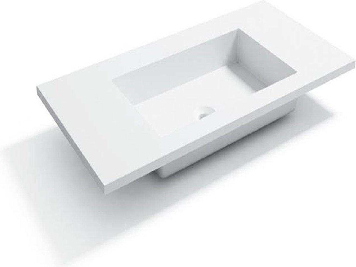 Bagnotti Beta Solid Surface Enkele Wastafel 80cm Zonder Kraangat Acryl Wit