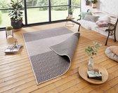 Binnen & buiten vloerkleed Borneo - zwart/crème 80x350 cm