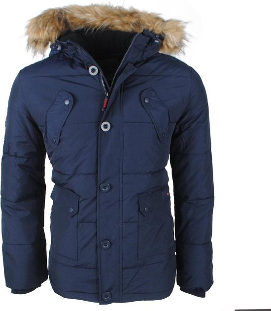 Northvalley Heren Winterjas met Faux Fur Bontkraag Capuchon met Fleece Voering Model Luis Navy