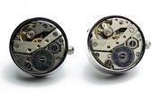 Manchetknopen - Open skeleton horloge Zilver Rond