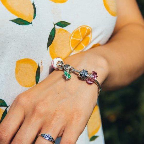 Pink Ribbon roze Murano glaskraal |  | geschikt voor Biagi , Pandora , Trollbeads armband | 925 zilveren kern