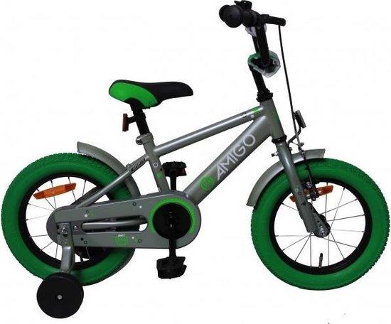 Amigo Sports - Kinderfiets 14 Inch - Jongens - Grijs/Groen