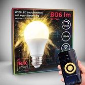 B.K.Licht - Slimme Lichtbron - smart lamp - met E27 - 9W LED - WiFi - App - 2.700K warm wit licht - 806 Lm - voice control - lampjes  - LED lamp