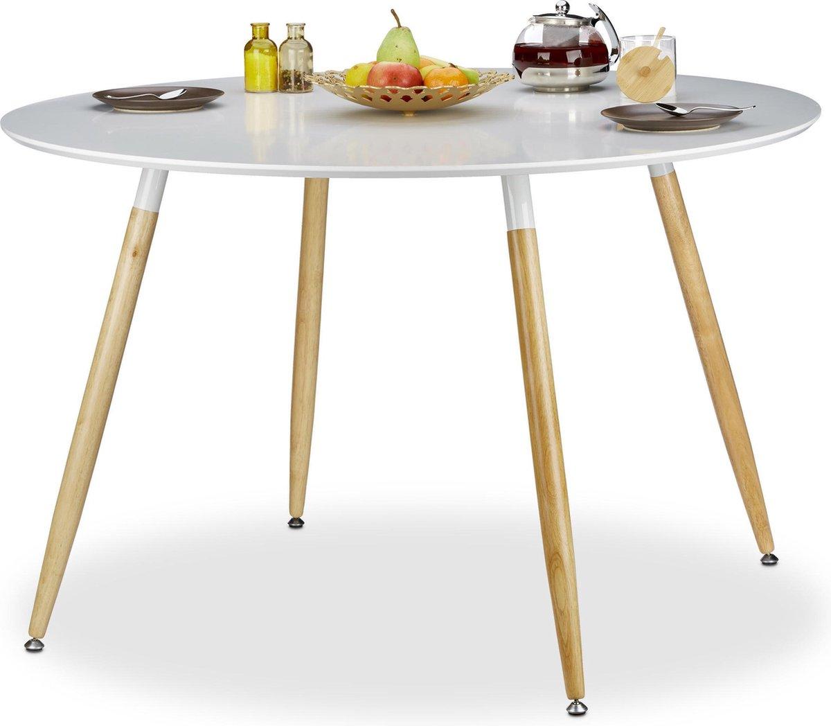 relaxdays - eettafel rond - eetkamertafel - eetkamer tafel 6 - 8 pers. - hout wit - Relaxdays