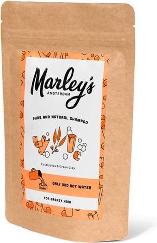 Marley's Amsterdam duurzame & natuurlijke shampoo - Vet Haar - Eucalyptus & Groene klei - 450ml - shampoovlokken