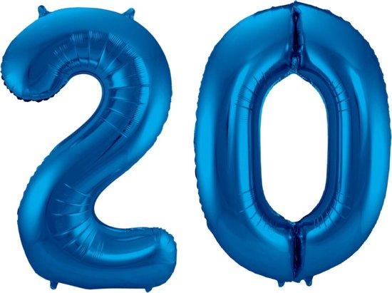 Ballon Cijfer 20 Jaar Blauw 36Cm Verjaardag Feestversiering Met Rietje