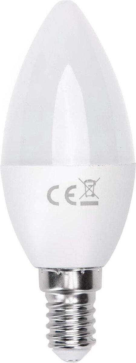 LED Lamp - Smart LED - Aigi Kiyona - Bulb C37 - 7W - E14 Fitting - Slimme LED - Wifi LED - Aanpasbare Kleur - Mat Wit - Glas - BSE