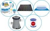 WAYS - Zwembad Accessoirepakket 5-delig - WAYS Onderhoudspakket & Zwembad verwarming & Filterpomp (58381) & Zwembad filters Type I & Grondzeil
