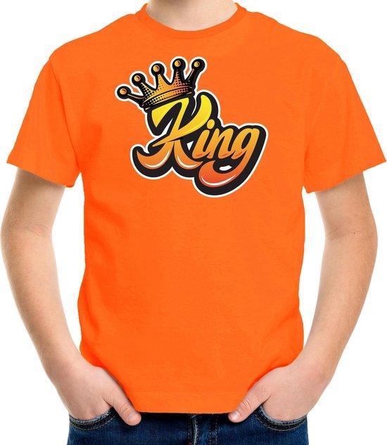 Oranje Koningsdag King t-shirt - oranje - kinderen/ jongens -  Kingsday shirt / kleding / outfit L (146-152)