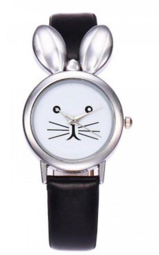 Hidzo Horloge Konijn ø 37 mm – Zwart – In horlogedoosje
