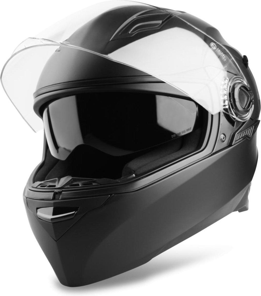 Vinz Kensal Integraalhelm Mat Zwart / Integraal Helm / Scooterhelm / Brommerhelm / Motorhelm voor Sc