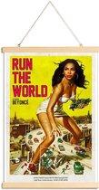 JUNIQE - Posterhanger Run the World -30x45 /Geel