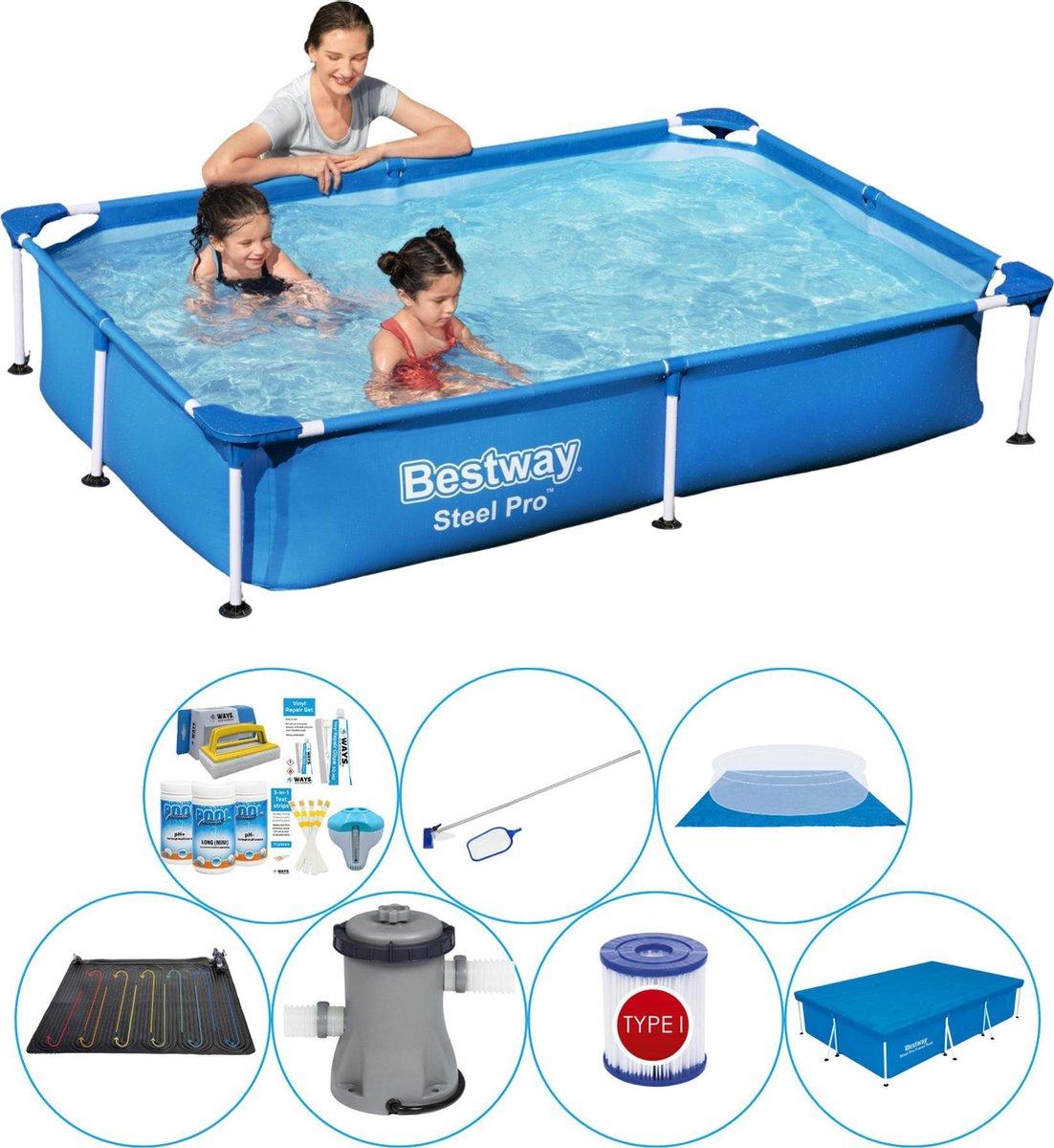 Bestway zwembad - 220 x 150 x 43 cm - afdekzeil - grondzeil - pomp - onderhoudsset - chloorpakket