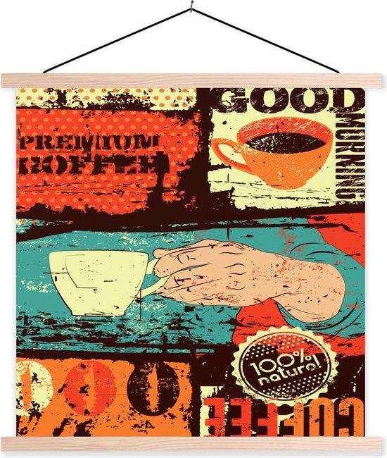 Vintage koffie met kleurrijke afbeeldingen 40x40 cm