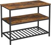 Keuken Meubel met 2 Planken en 3 Etages, Keukenrek met groot Blad voor Microgolf, Borden, Pannen, industrieel ontwerp, vintage bruin zwart