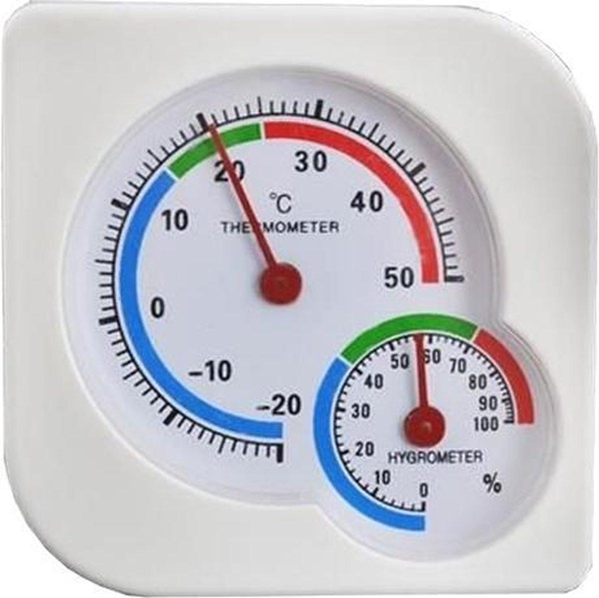 Thermometer/Hygrometer Analoog - Analoog Thermometer en Hygrometer in 1 - Binnen en Buiten   wit