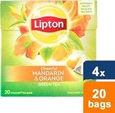 Lipton Mandarin Orange - 20 stuks - Groene Thee - 4 stuks - Voordeelverpakking