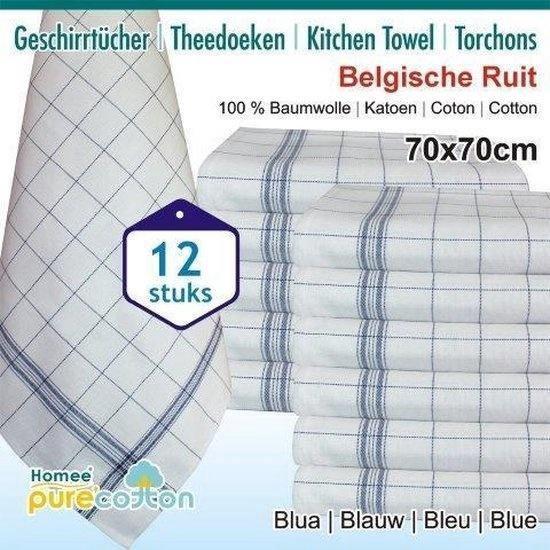 Theedoeken Belgische ruit blauw 100% Katoen - set van 12 Stuks -70x70cm