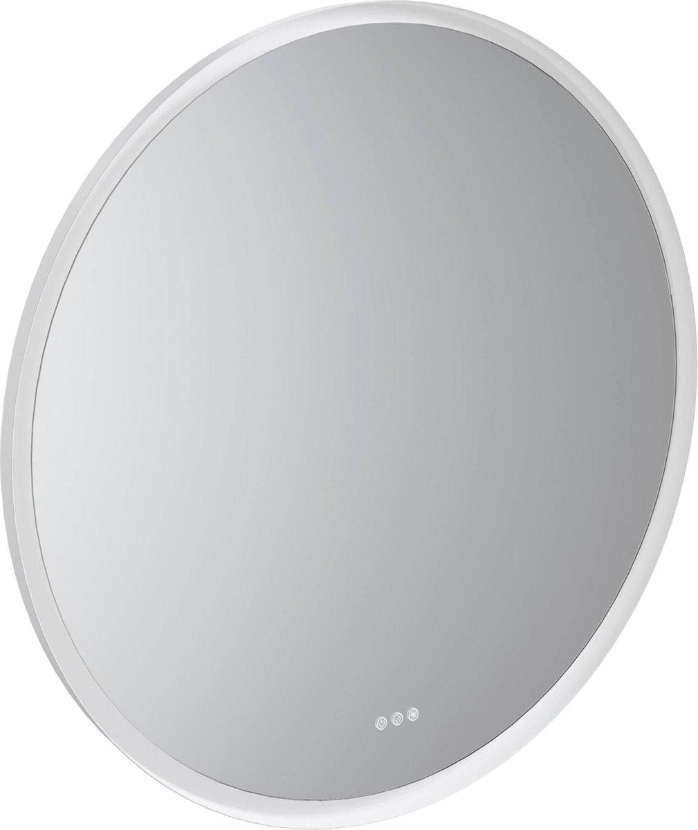 Nancy's Globe Ronde trendy spiegel met indirecte verlichting - Touch schakelaar - Dim & lichtkleur aanpassen - Spiegels boven wastafel - Ø 110 cm - Wit