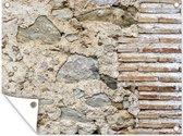 Antieke stenen muur met beschadigingen tuinposter 80x60 cm - Tuindoek / Buitencanvas / Schilderijen voor buiten (tuin decoratie)