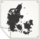 Zwart-wit illustratie van een zwart Denemarken tuinposter 50x50 cm - klein - Tuindoek / Buitencanvas / Schilderijen voor buiten (tuin decoratie)