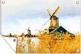 Een illustratie van de Zaanse schans tuinposter 90x60 cm - Tuindoek / Buitencanvas / Schilderijen voor buiten (tuin decoratie)