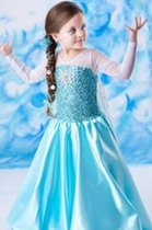 Frozen Elsa blauwe Verkleedjurk sleep- Prinsessenjurk - Maat 92/98(labelmaat 100) - 3 jaar - Gratis Tiara - Kroon Verkleedkleding - Verkleed jurk