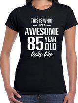 Awesome 85 year - geweldig 85 jaar cadeau t-shirt zwart dames -  Verjaardag cadeau L