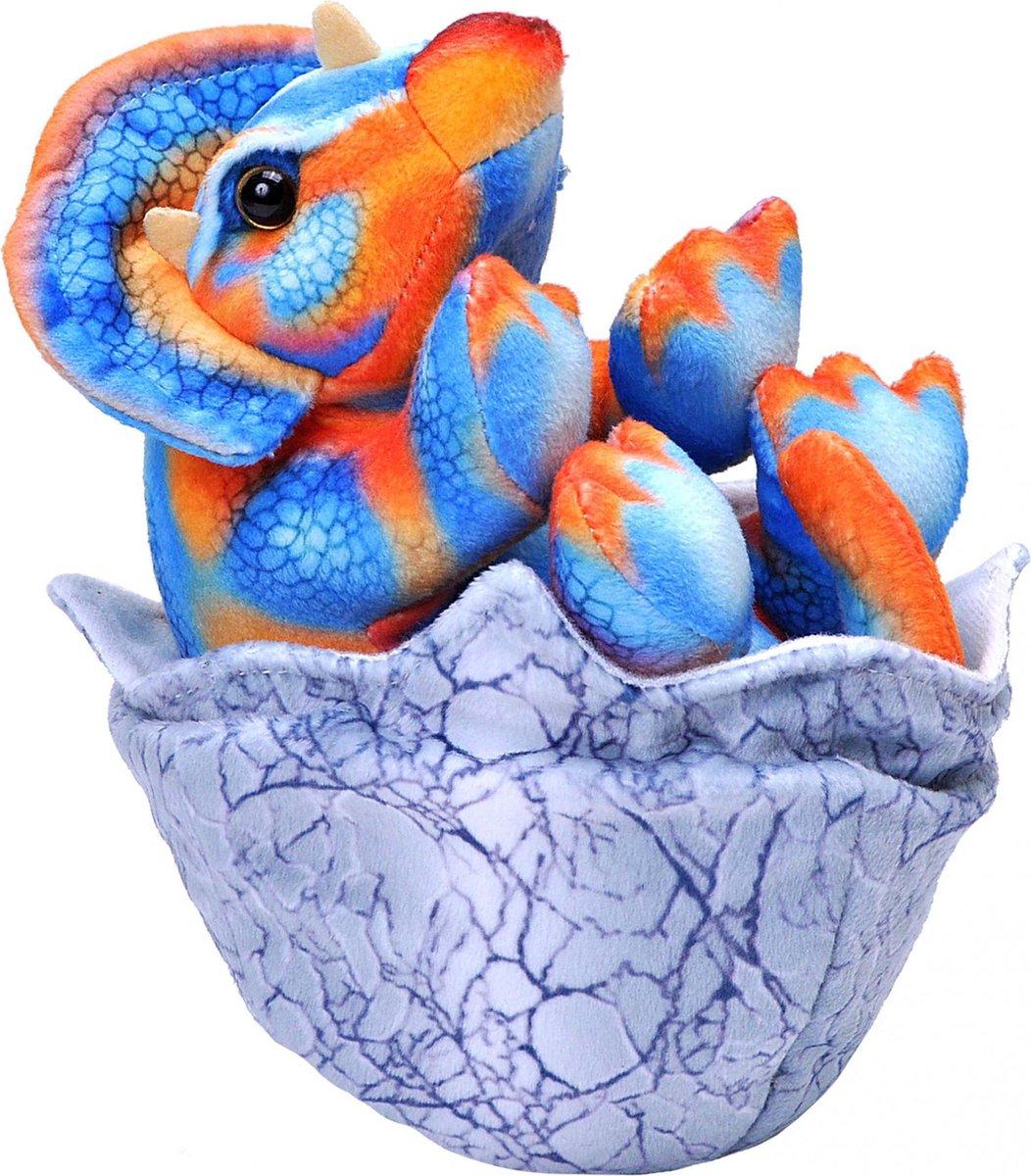 Wild Republic Knuffel Baby Triceratops 20 Cm Pluche Blauw/oranje