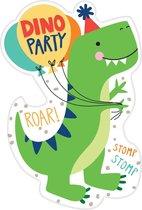 Amscan Uitnodigingen Dino Junior 10 Cm Karton Groen 8 Stuks