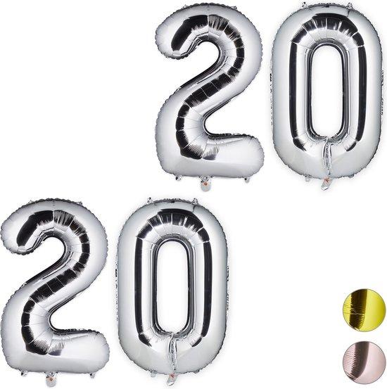 relaxdays 2x folieballon getal 20 - luchtballon folie ballon - XXL cijferballon - zilver