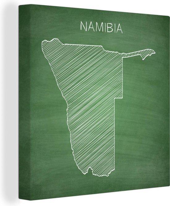 Illustratie van Namibië op een krijtbord 50x50 cm - Foto print op Canvas schilderij (Wanddecoratie woonkamer / slaapkamer)