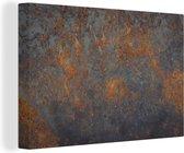IJzer met roestige structuur 140x90 cm - Foto print op Canvas schilderij (Wanddecoratie woonkamer / slaapkamer)