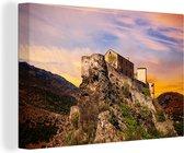 Zonsondergang in Corsica Canvas 30x20 cm - klein - Foto print op Canvas schilderij (Wanddecoratie woonkamer / slaapkamer)