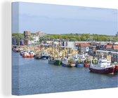 Vissersboten in de haven van IJmuiden canvas 30x20 cm - klein - Foto print op Canvas schilderij (Wanddecoratie woonkamer / slaapkamer)