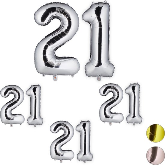 relaxdays 4x folie ballon - cijfer 21 - luchtballon - decoratie - cijfer ballon - zilver